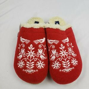 Lands' End Felt Animal Scuff Slippers Floral NWT